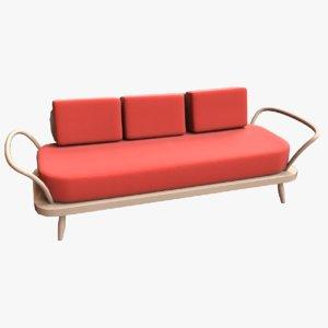 low-poly vintage 50s sofa 3D