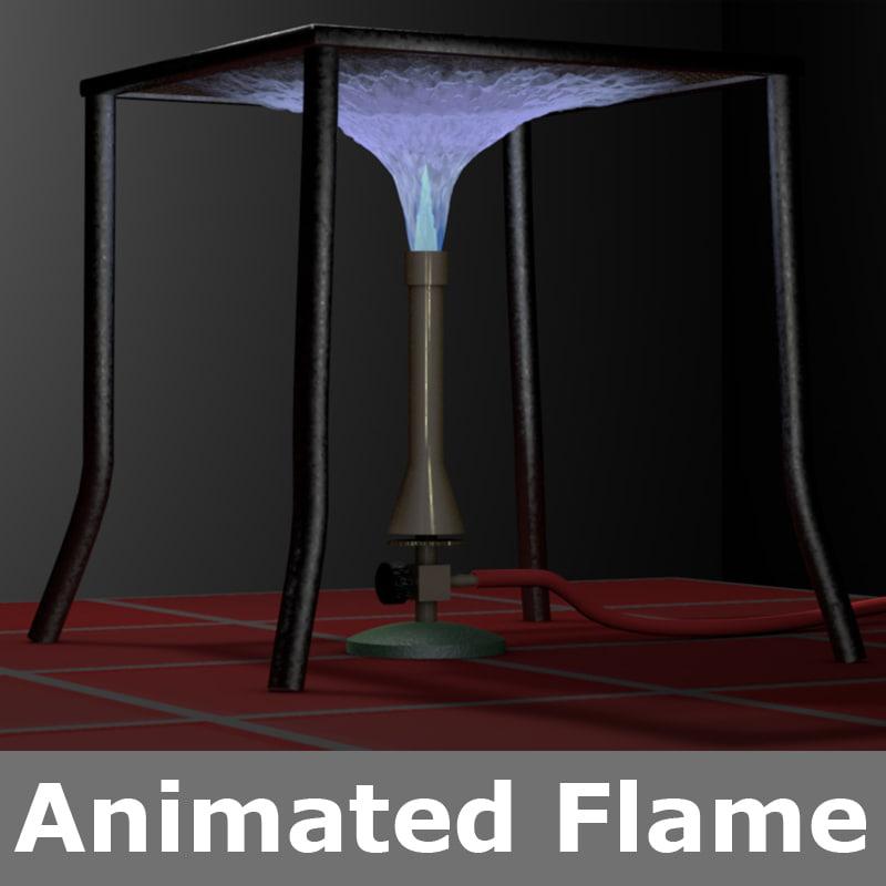 3D bunsen burner blue flame