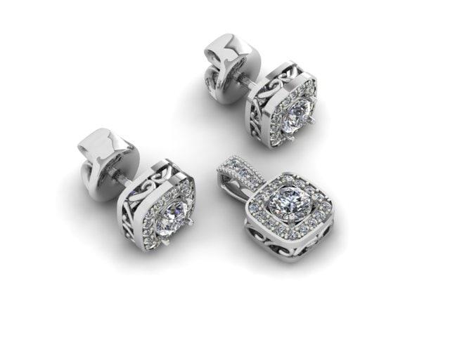 set earrings pendant 3D