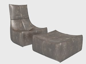 3D lounge chair ottoman gerard