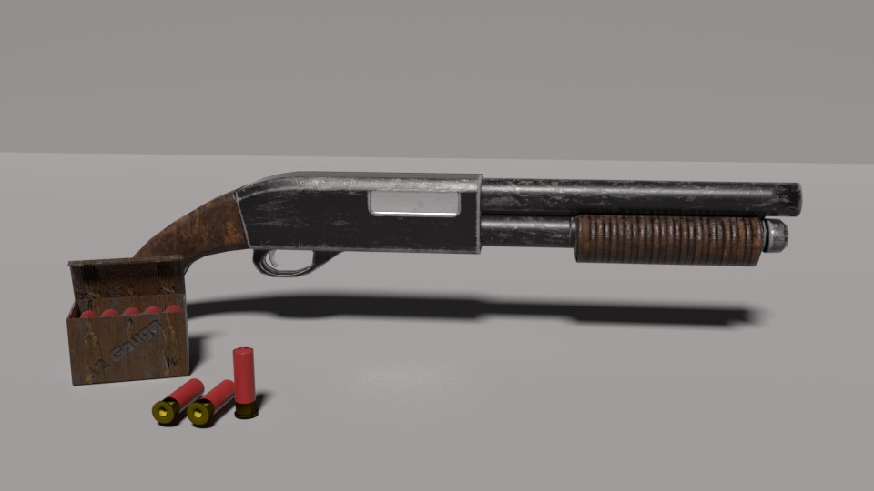 3D sawn shotgun animation