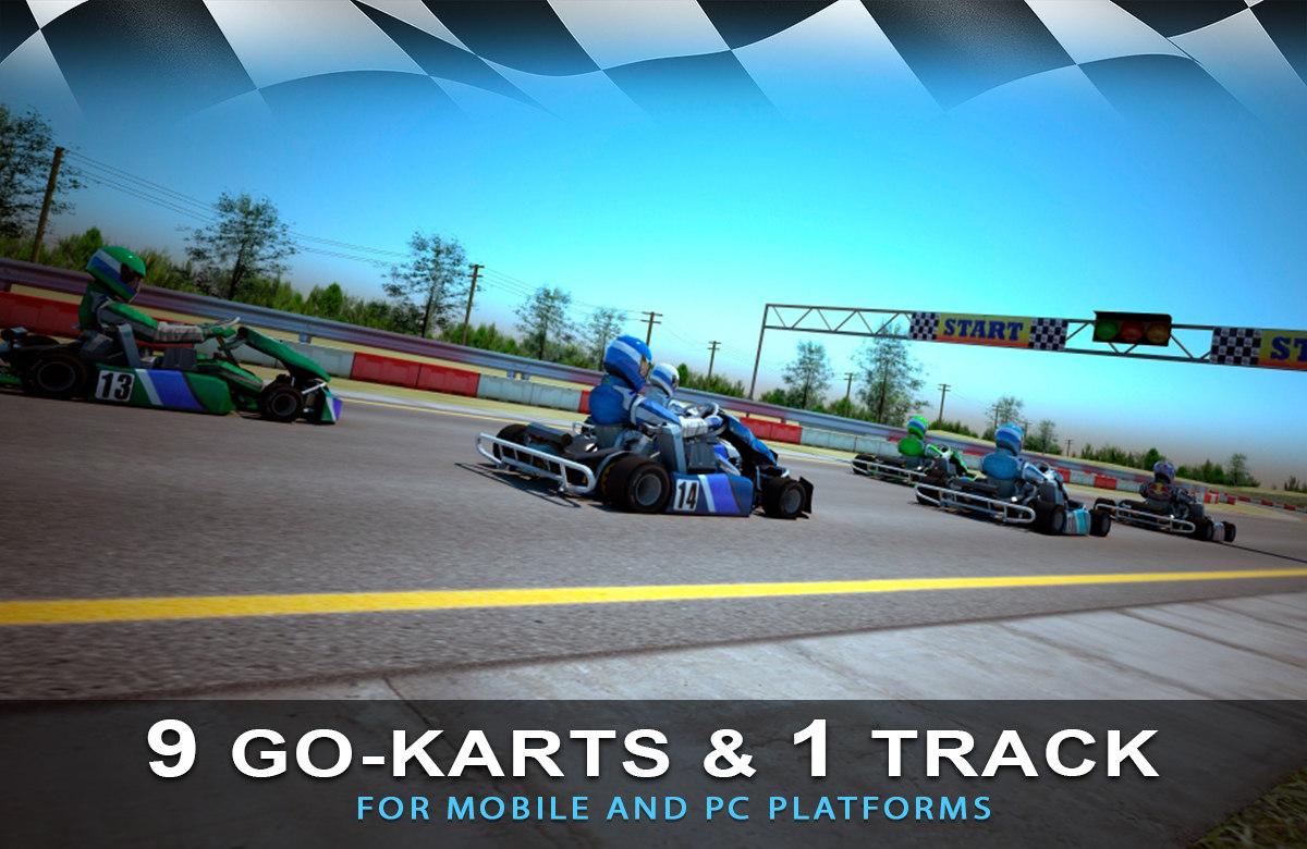 3D 9 go-karts 1 race track
