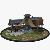 medieval chinese blacksmith house 3D model