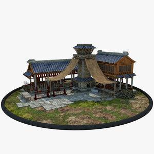 medieval chinese blacksmith house 3D model