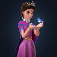 cartoon princess rigged girl 3D