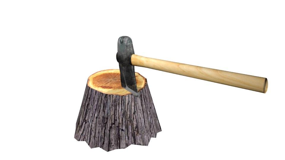 axe tree stump 3D model