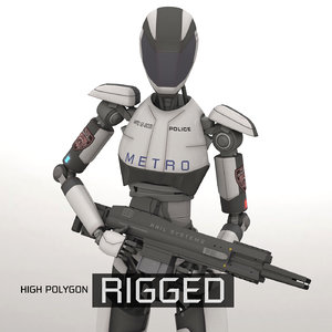 police rigged 3D model