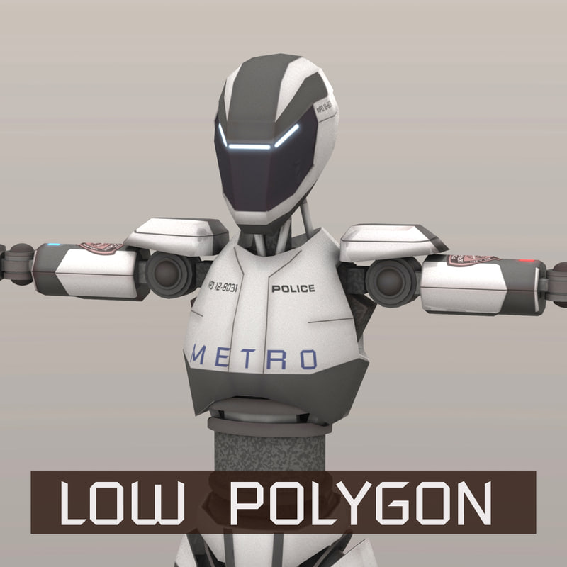 3D police android robot