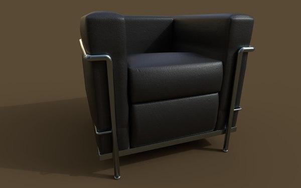 3D lc2 armchair le corbusier