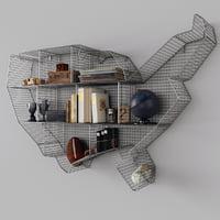 3D model shelf usa zinc maps
