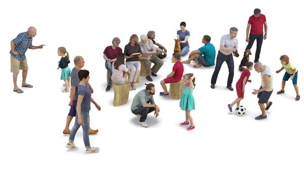 3D people park model
