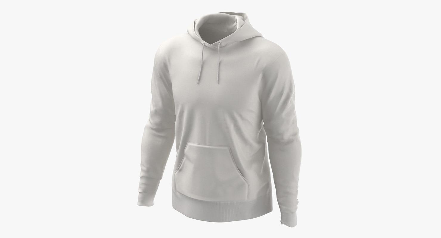 3D male standard hoodie worn