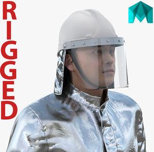 3D model firefighter wearing aluminized proximity