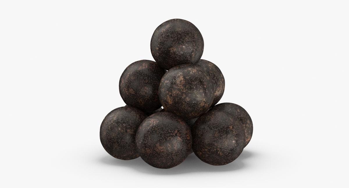 old-cannonballs 3D