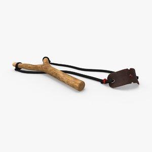 3D model sling-shot---flat