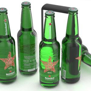 beer bottle heineken music 3D
