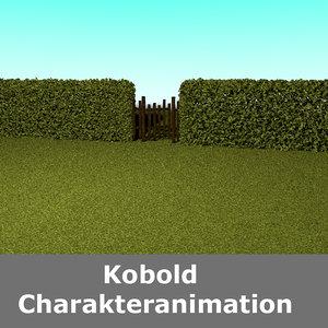 hedge fence 3D model