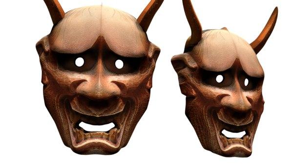 hannya mask noh japanese 3D