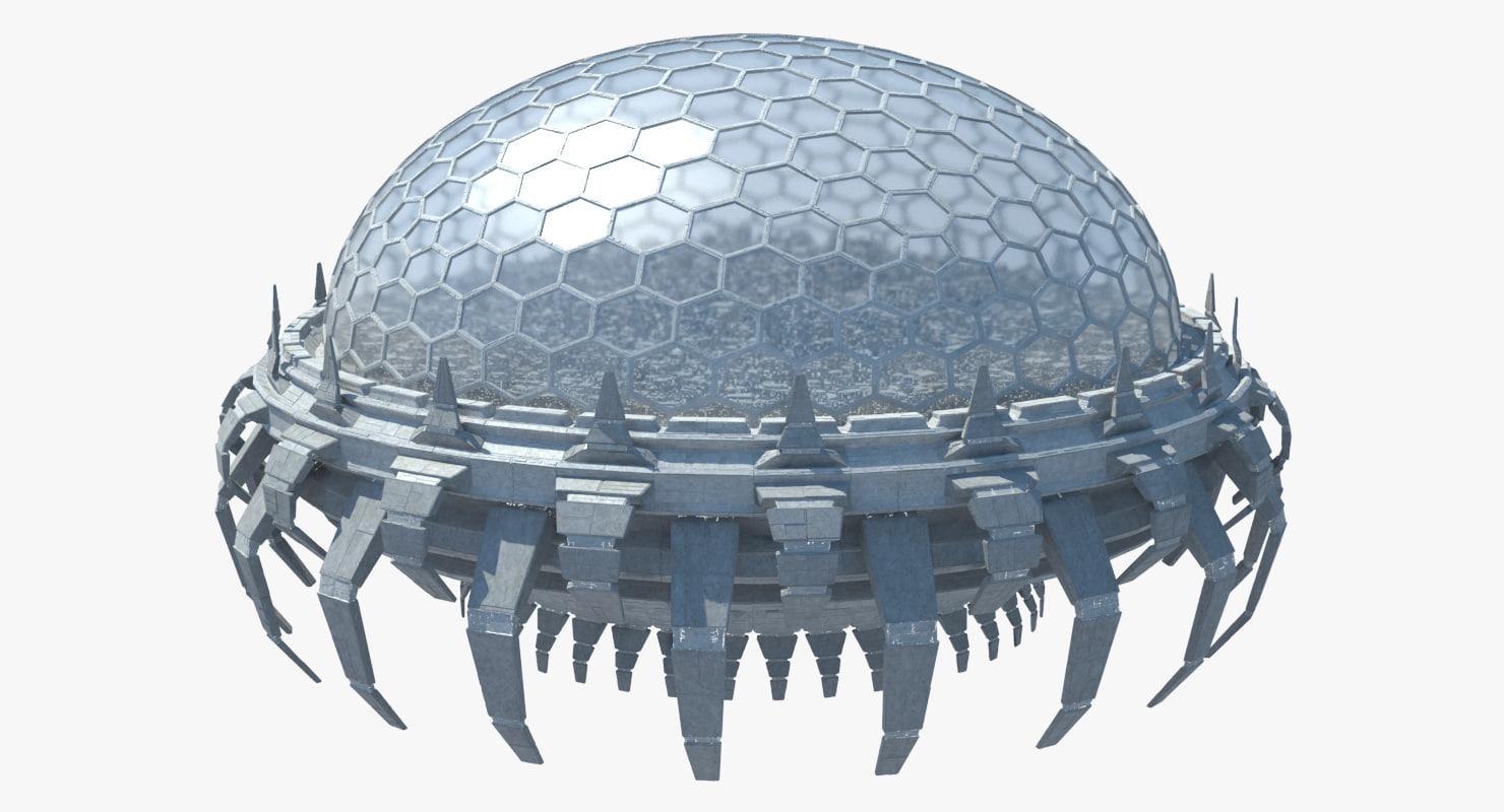 3D ocean flying city model