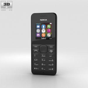 3D nokia 105 black model