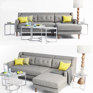 3D sofa crosby set model