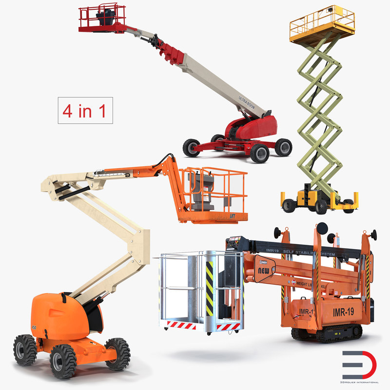 telescopic boom lifts rigged 3D model