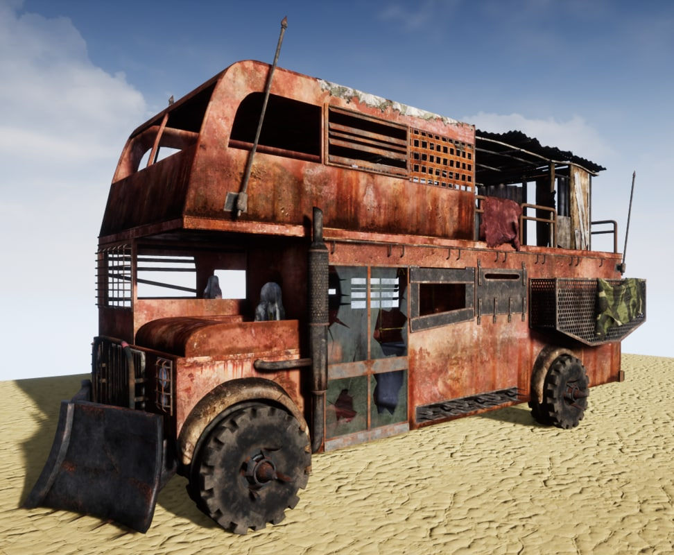 3D post-apocalyptic bus aaa model