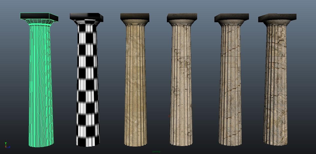 ancient greek doric columns 3D model