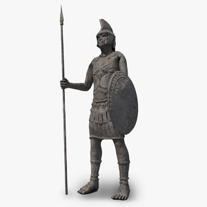 3D stone ancient soldier