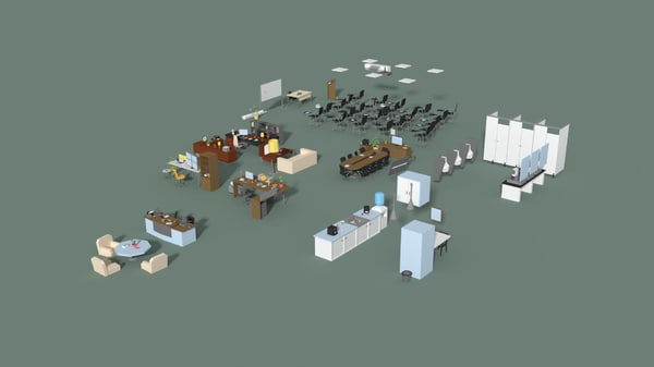 3D office interior set