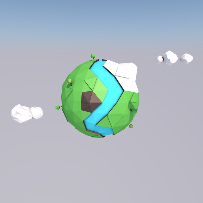world mountains river 3D model