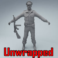 unwrapped british officer soldier 3D model