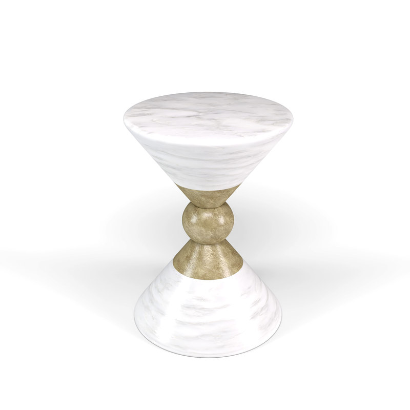 modern white gold table model