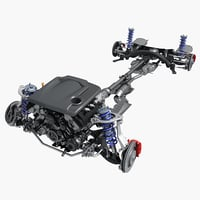 3D car chassis engine model