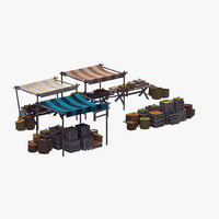 market stalls 3D