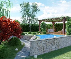 3D grass garden model