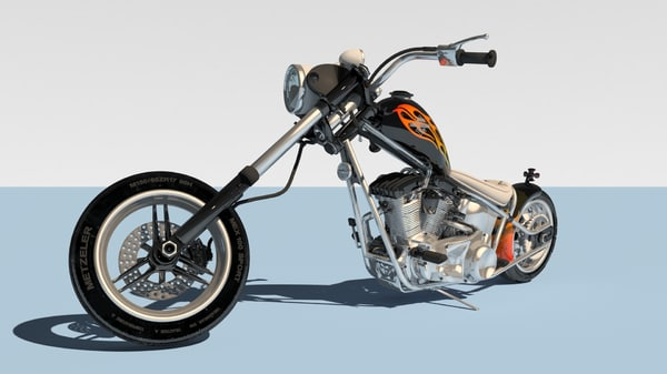 3D harley davidson chopper model