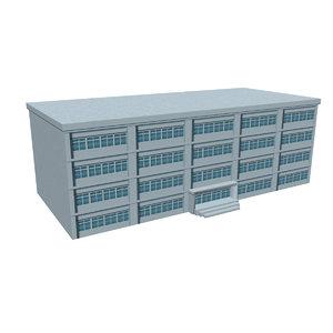 low-polygon school building 3D model