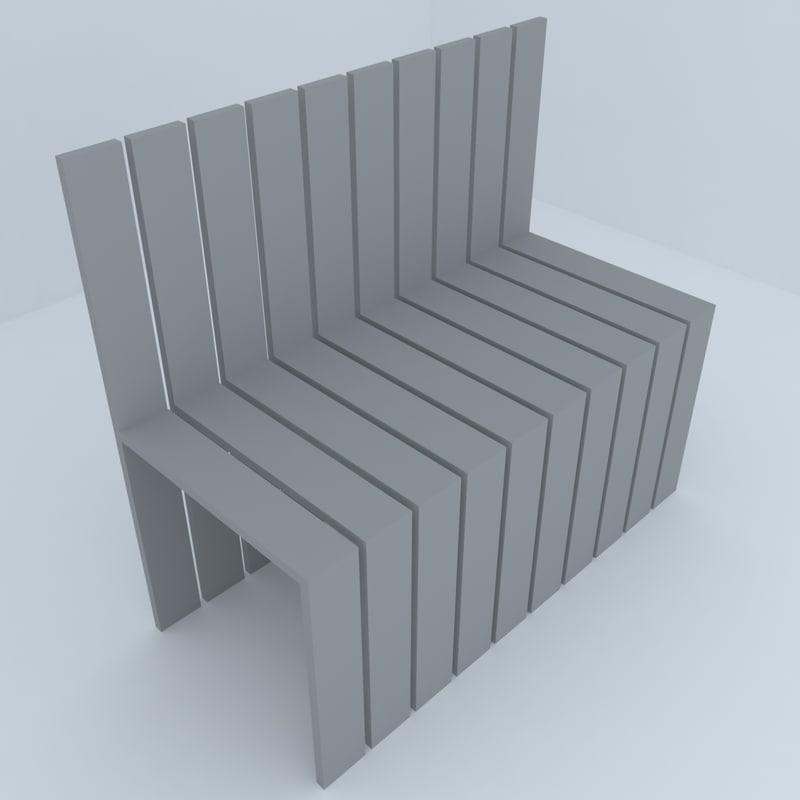 3D park benches model