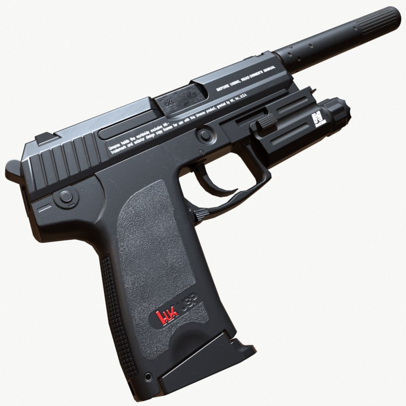 pistol pbr silencer 3D model
