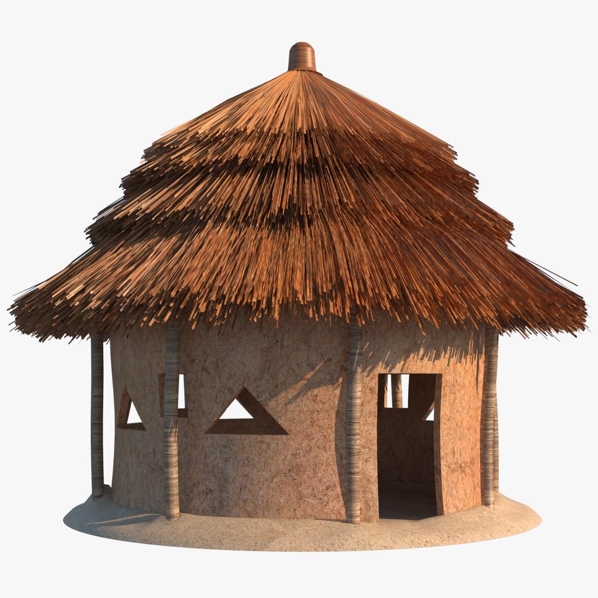 3d model african hut bamboo turbosquid 1199904 for Model beach huts