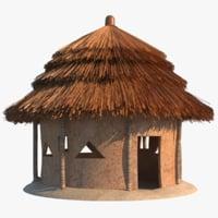 3D model african hut bamboo