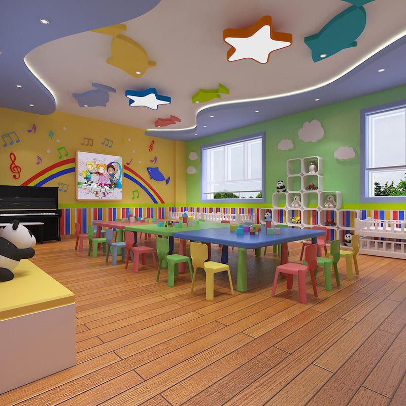 Modern Classroom Model : D model kindergarten classroom turbosquid