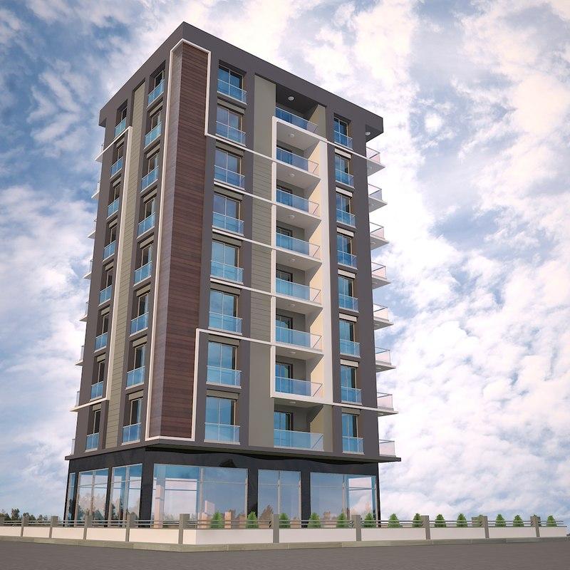 Apartment Building 3D Model; Apartment Building 3D Model ...