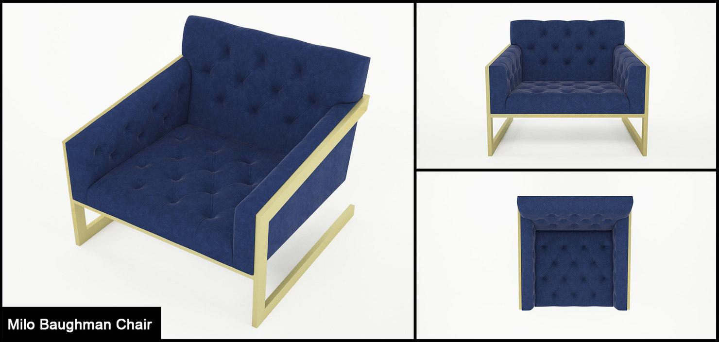 3D model chairs milo baughman