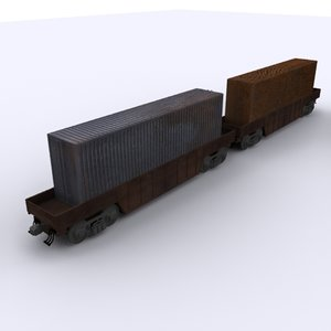 3D railway container carriage model