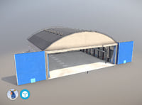 3D airport hangar1 ueee hangar model