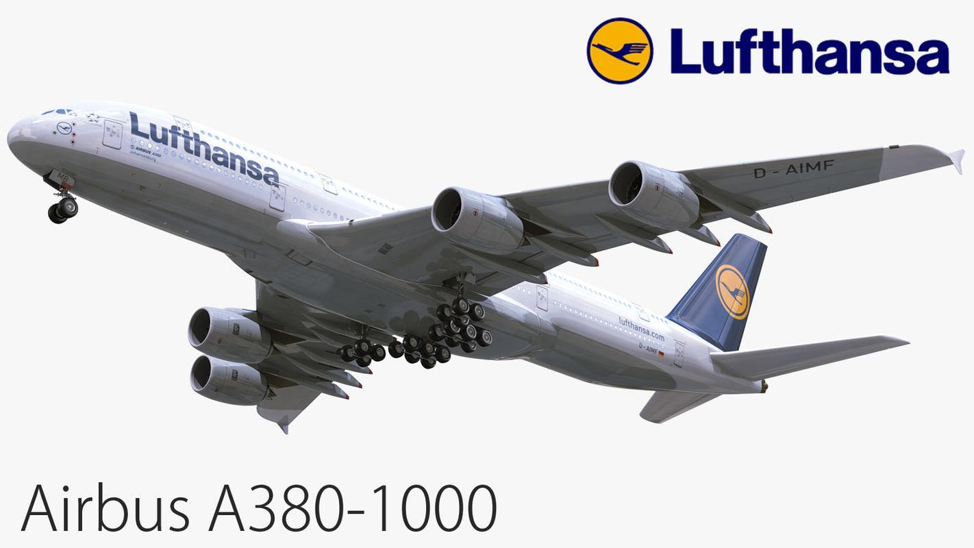 3D airbus a380-1000 lufthansa