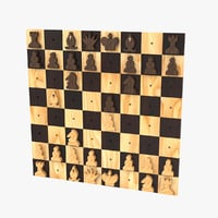 wall-hanging chess set 3D model