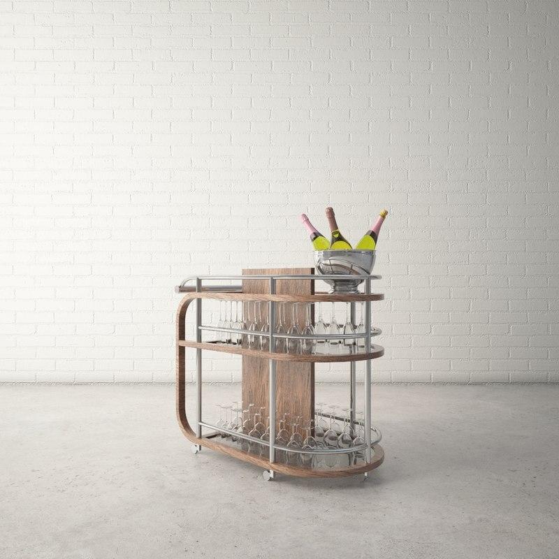 3D model custom designed bar cart